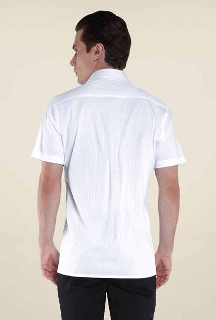 Park Avenue White Striped Cotton Shirt