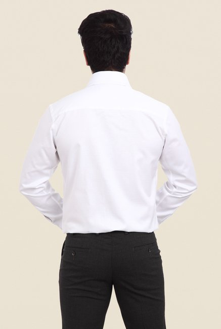 Park Avenue White Self Print Cotton Shirt