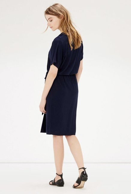 Warehouse Navy Solid Wrap Dress