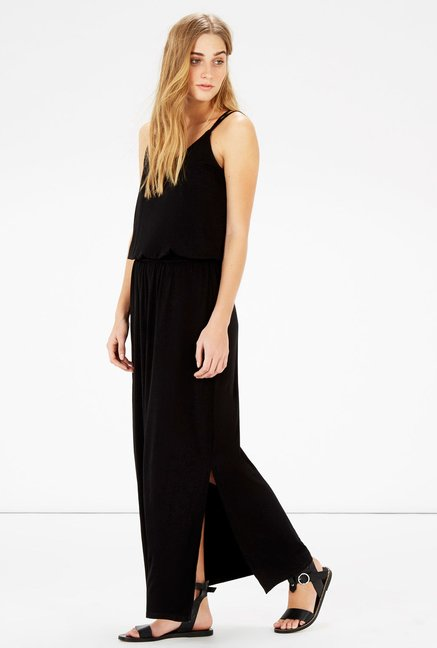 Warehouse Black Solid Maxi Dress
