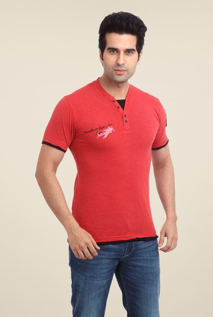 Parx Red Solid V Neck T Shirt