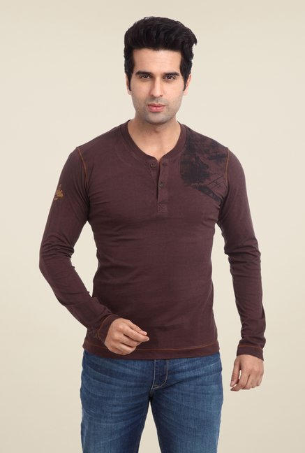Parx Brown Printed Henley T Shirt