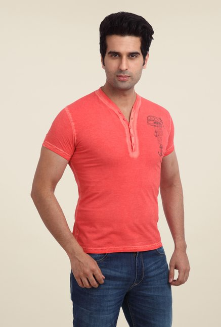 Parx Coral Solid V Neck T Shirt