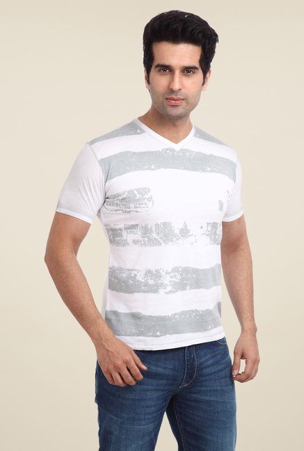 Parx White Striped V Neck T Shirt
