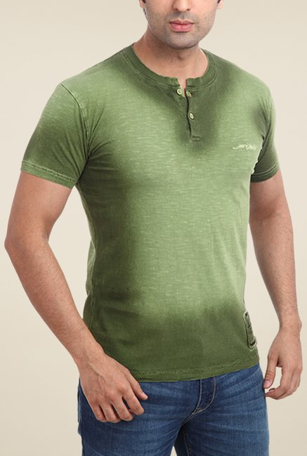 Parx Green Solid Henley Neck T Shirt