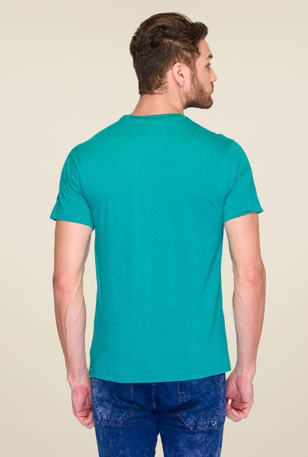 Parx Green Graphic Printed T Shirt