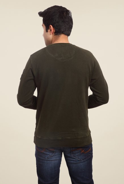 Parx Olive Solid T Shirt