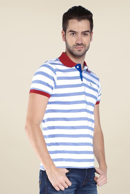 Parx Blue & White Striped Polo T Shirt