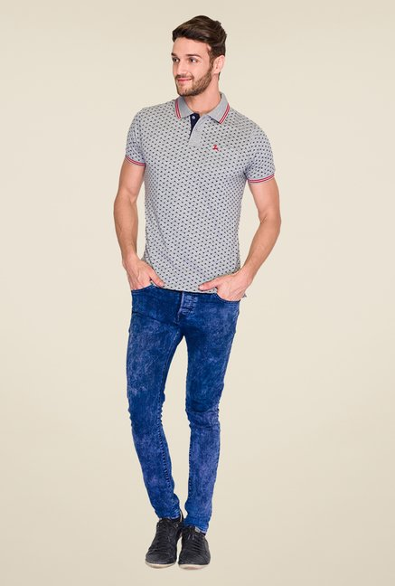Parx Grey Printed Polo T Shirt