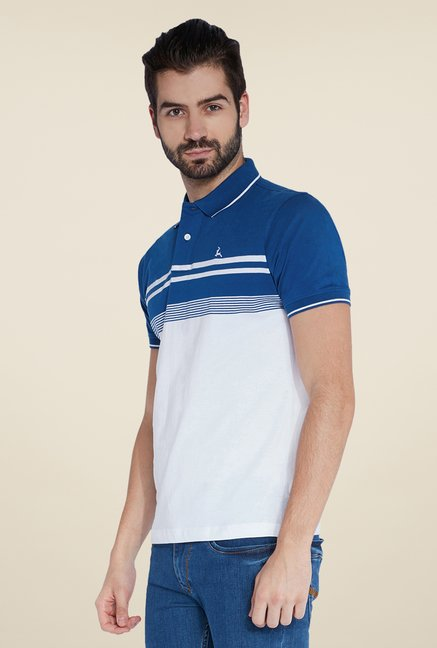 Parx White & Blue Striped Polo T Shirt