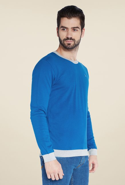 Parx Blue Solid T Shirt