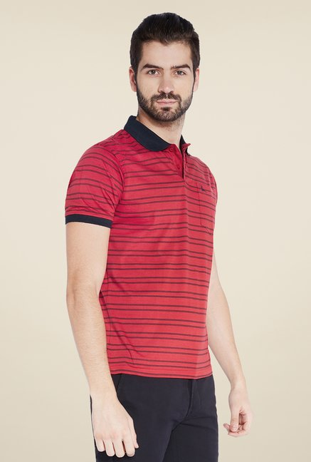 Parx Red Striped Polo T Shirt