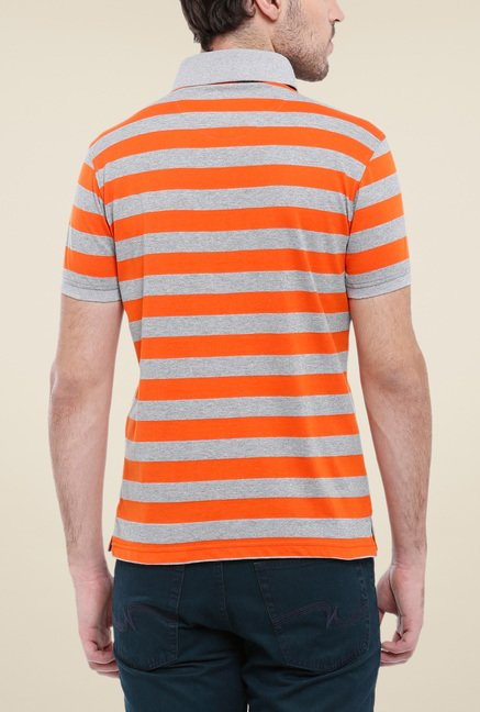 Parx Orange & Grey Striped Polo T Shirt