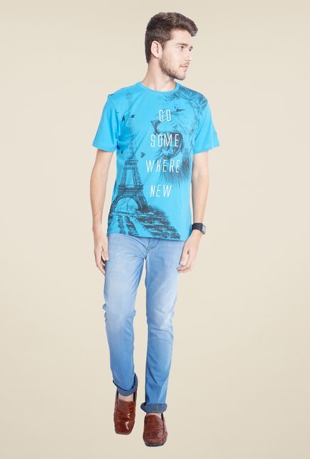 Parx Sky Blue Printed T Shirt