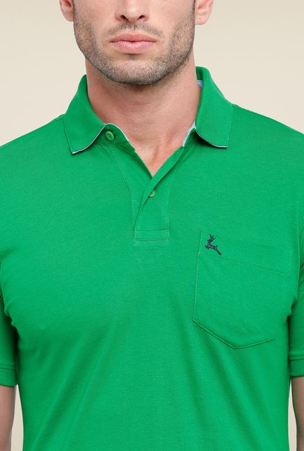 Parx Green Solid Polo T Shirt