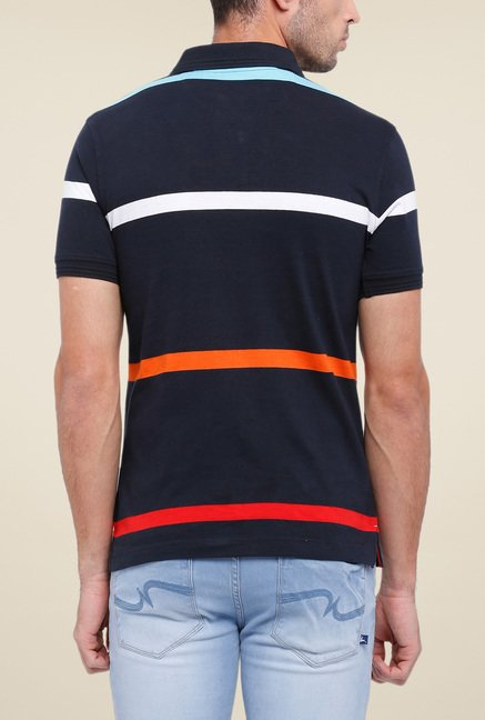 Parx Navy Striped Polo T Shirt