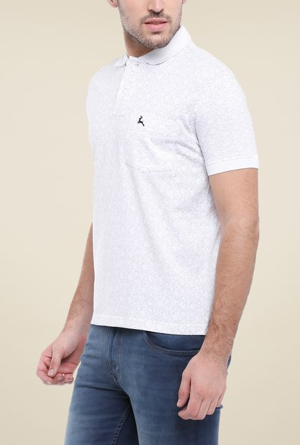 Parx White Printed Polo T Shirt