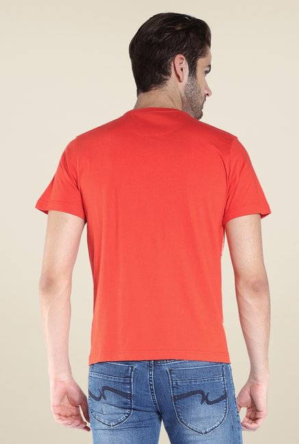 Parx Orange Graphic Printed Crew Neck T Shirt