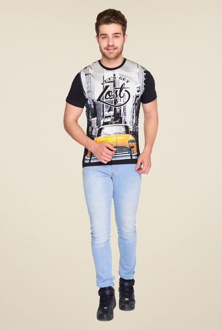 Parx Black Graphic Printed Crew Neck T Shirt