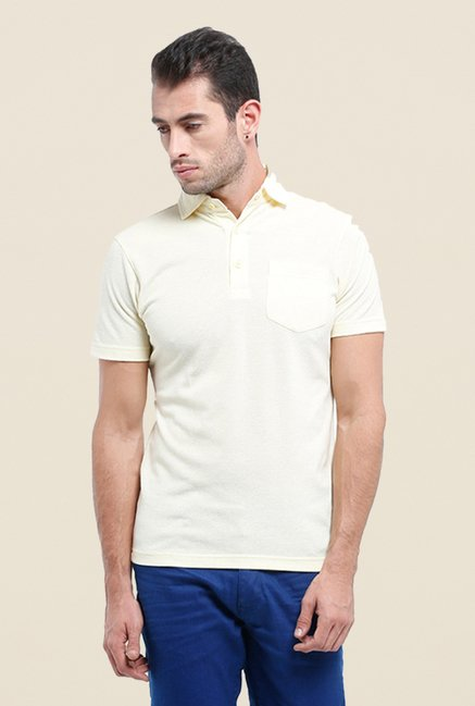 Parx Cream Solid Polo T Shirt