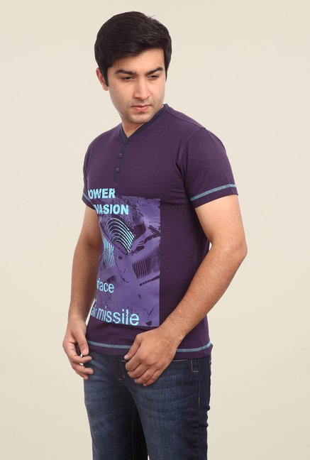 Parx Purple Printed Henley Neck T Shirt