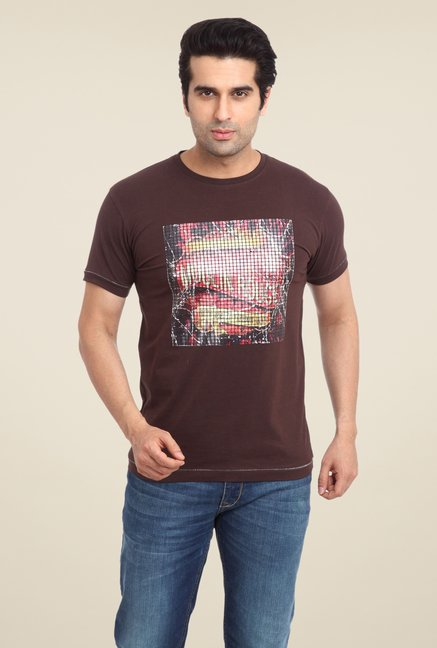 Parx Brown Graphic Printed T Shirt