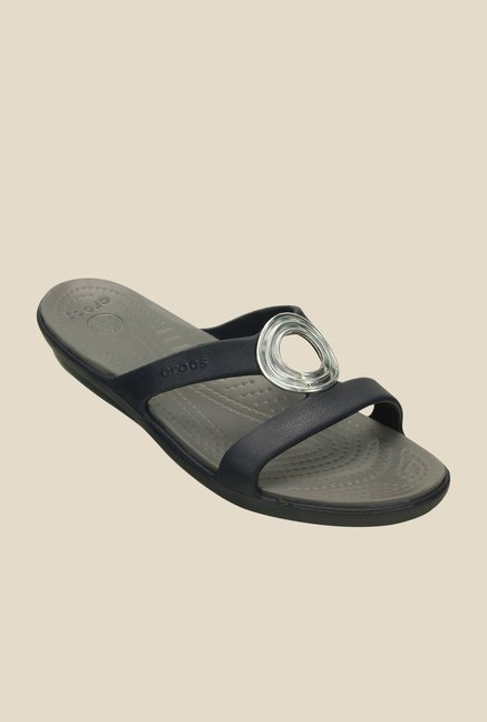 Crocs Sanrah Beveled Circle Nautical Navy Flip Flops