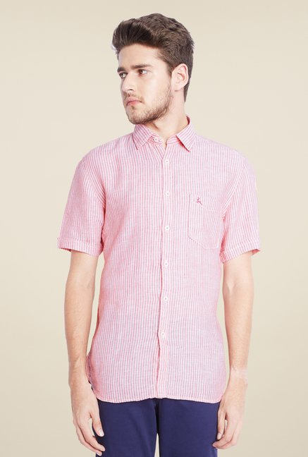 Parx Pink Striped Linen Shirt