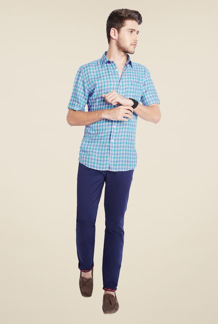 Parx Blue Checks Linen Shirt