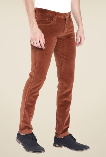 Parx Brown Solid Raw Denim Jeans