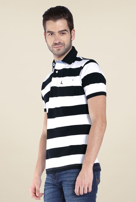 Parx White & Black Striped Polo T Shirt