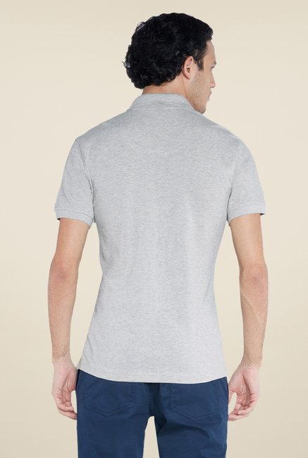 Parx Grey Solid Polo T Shirt