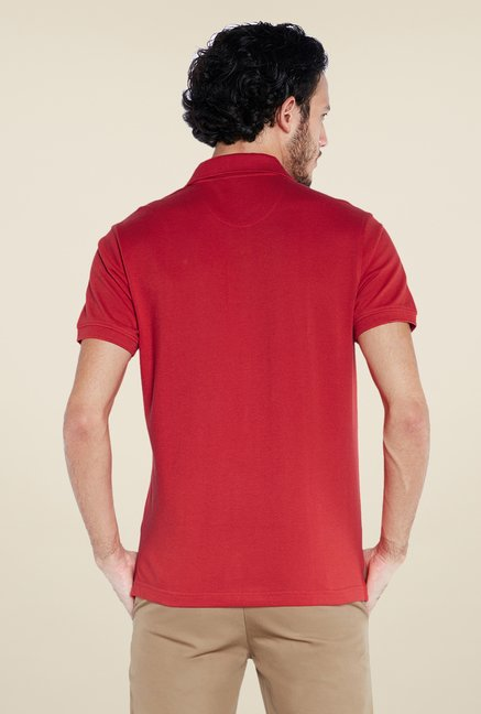 Parx Red Solid Polo T Shirt