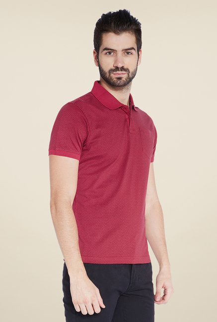 Parx Red Printed Polo T Shirt