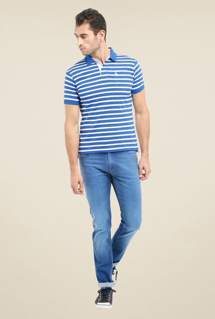 Parx Dark Blue & White Striped Polo T Shirt