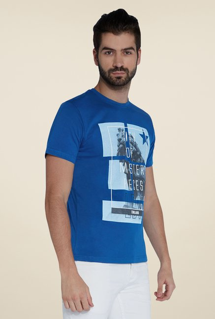 Parx Blue Graphic Printed Crew Neck T Shirt