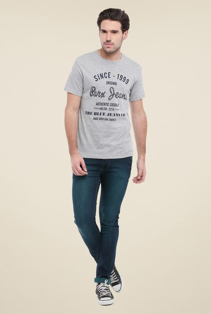 Parx Grey Graphic Printed Crew Neck T Shirt