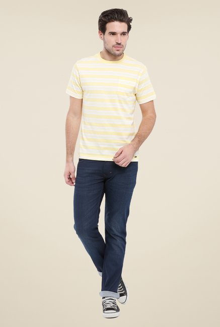 Parx Yellow Striped Crew Neck T Shirt