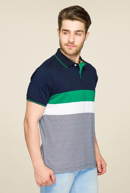 Parx Green & Navy Striped Polo T Shirt
