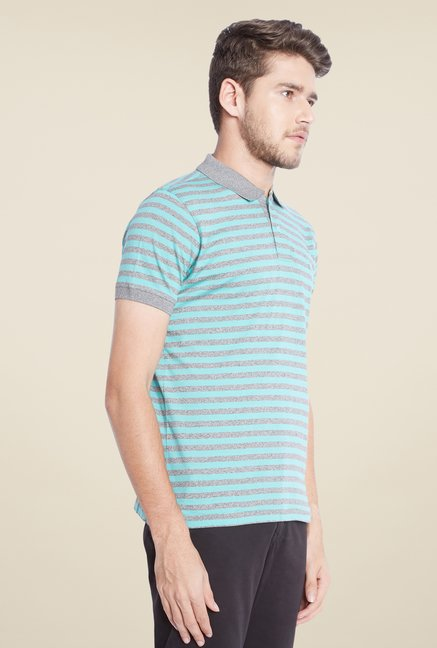Parx Blue & Grey Striped Polo T Shirt