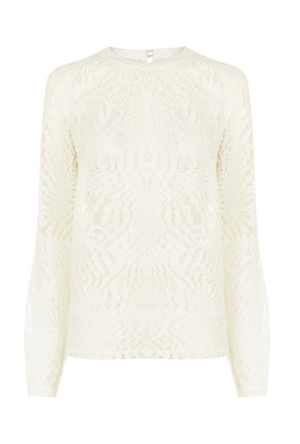Warehouse Cream Lace Top