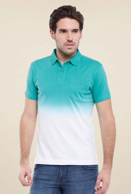 Parx Green & White Ombre Polo T Shirt