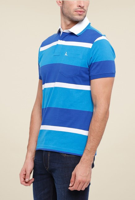 Parx Blue Striped Polo T Shirt