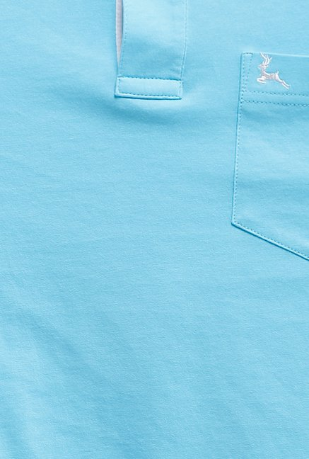 Parx Sky Blue Solid Polo T Shirt
