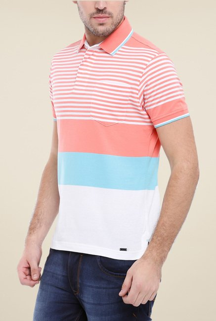 Parx Peach & White Striped Polo T Shirt