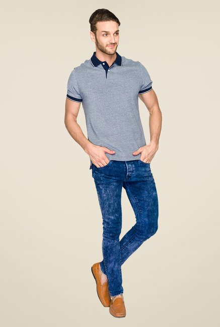 Parx Grey Textured Polo T Shirt