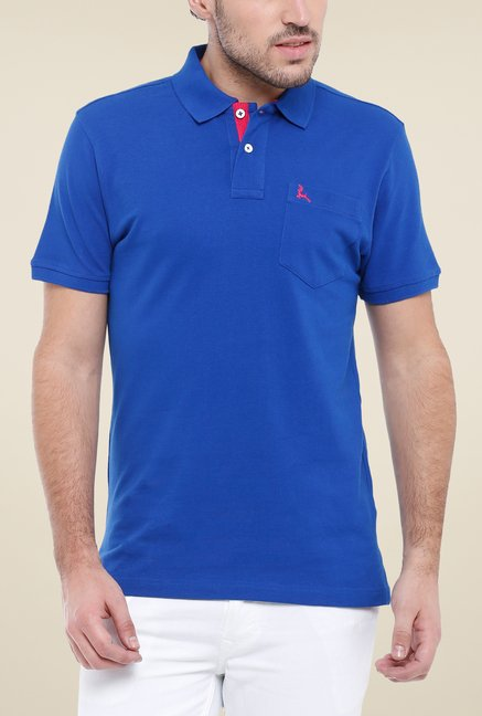 Parx Blue Solid Polo T Shirt