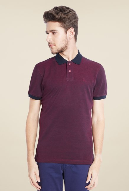 Parx Maroon Solid Polo T Shirt