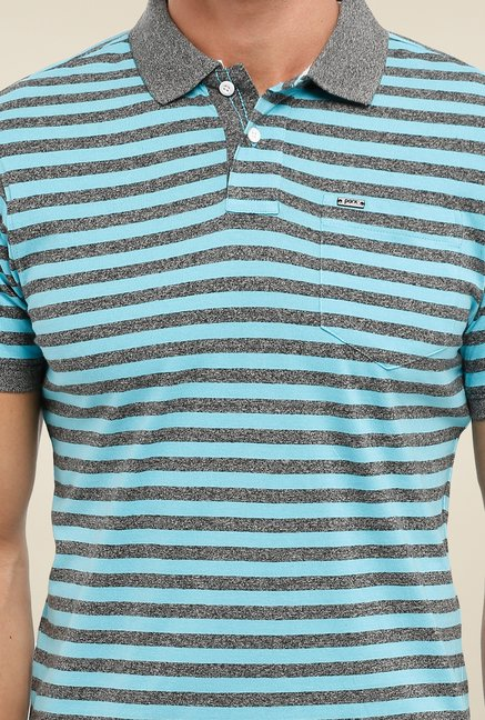 Parx Light Blue & Grey Striped Polo T Shirt