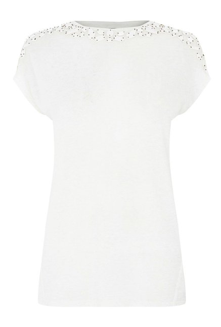 Warehouse White Embellished Top